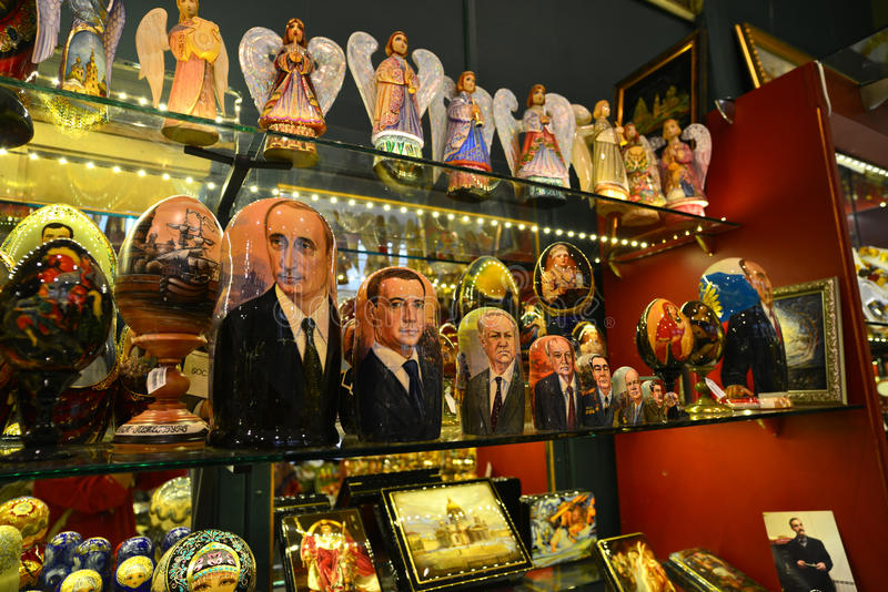 Doll souvenirs shop, Putin and Medvedev stock images