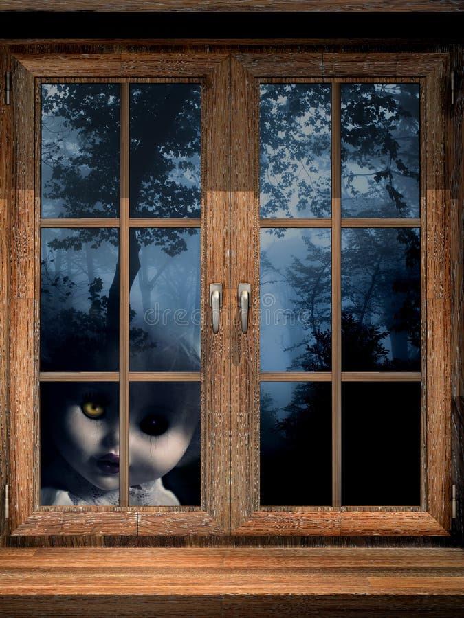 Doll spook in nevelig bos stock illustratie