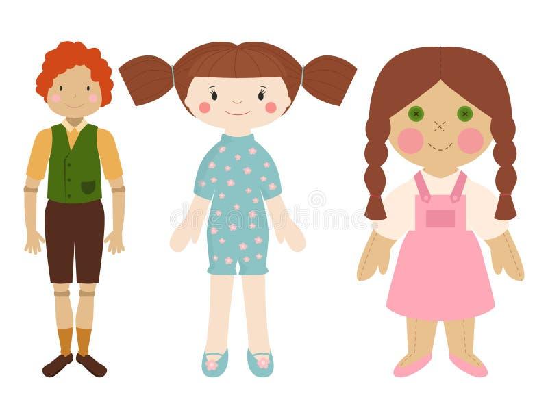 Doll stuk speelgoed de kleding van het karakterspel en de vod-pop van de landbouwbedrijfvogelverschrikker vectorillustratie stock illustratie