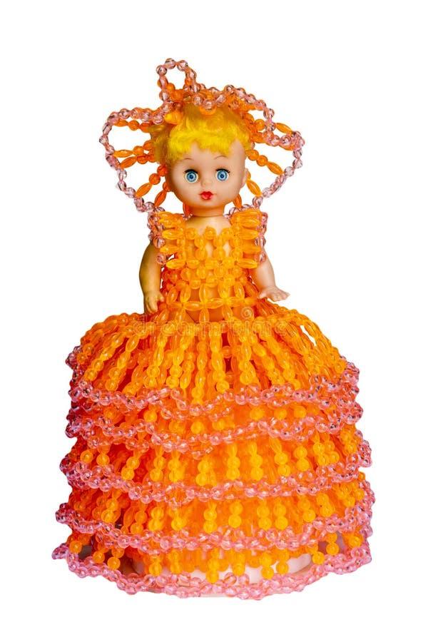 Doll stuk speelgoed Prinses op verwijderd wit, en het knippen weg wordt geïsoleerd die stock foto