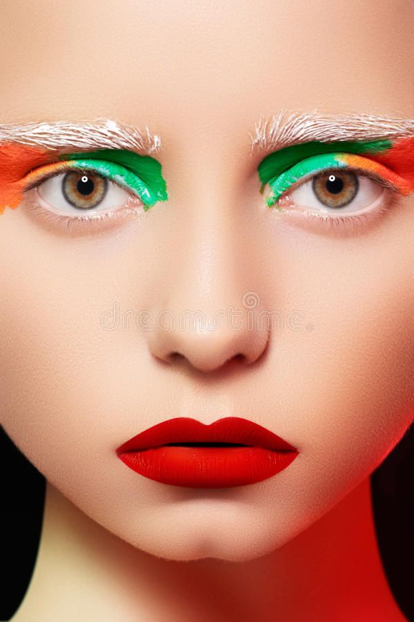 Doll Style, Model With Bright Creative Make-up Stock Photography