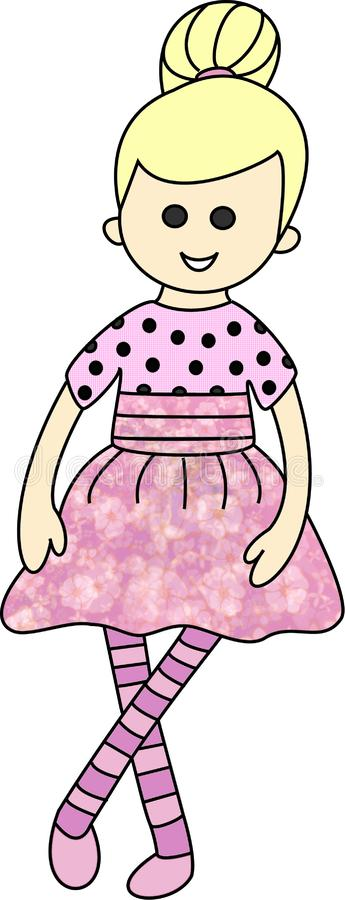 Doll, toys. Cartoon character for kids. Color, fun, pleasure. Lalka doll cloroing book cartoon character kids. Play. Toys royalty free illustration