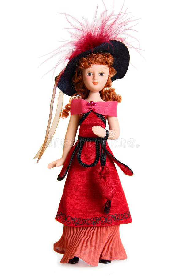 Doll in the Victorian style. The doll in the Victorian style of the 19th century, the heroine of Gustave Flauberts novel Madame Bovary Emma Bovary on a white stock images