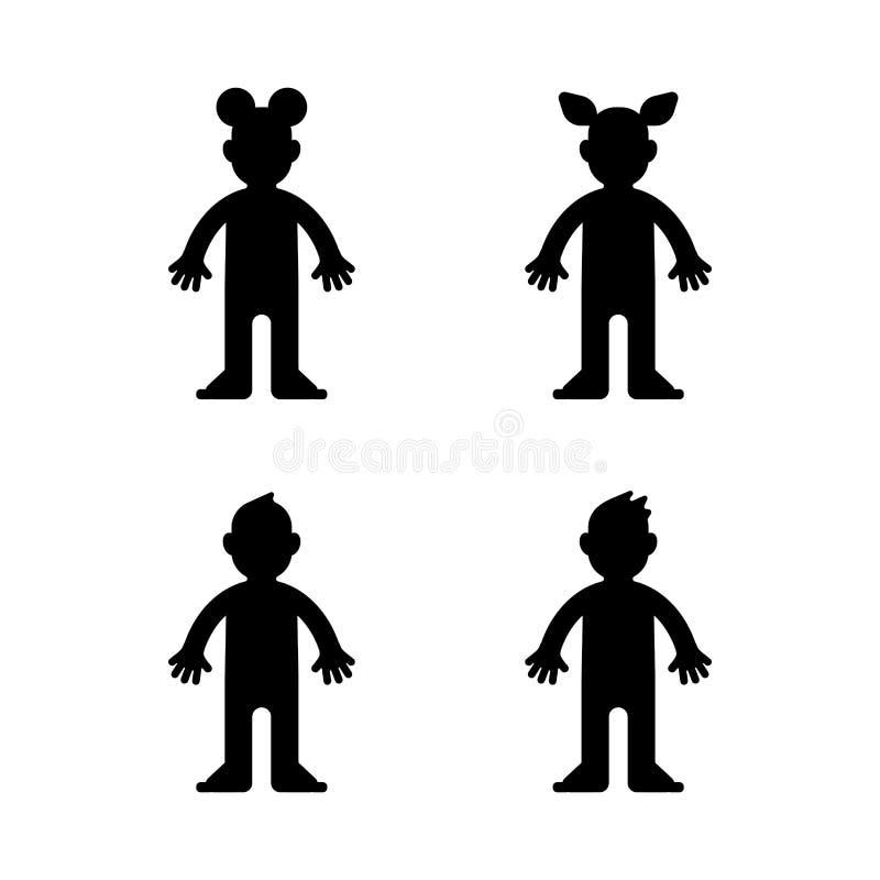 Doll, weinig jongen en meisje, zwart geïsoleerd silhouet, Vector stock illustratie