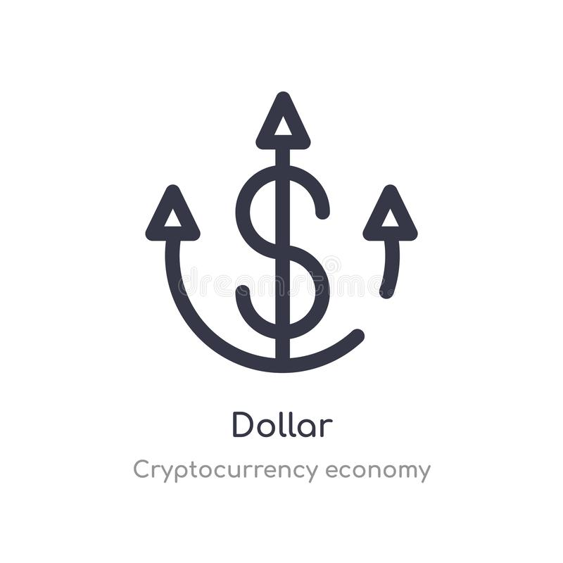 dollaröversiktssymbol isolerad linje vektorillustration fr?n cryptocurrencyekonomisamling redigerbar tunn slaglängddollarsymbol p vektor illustrationer
