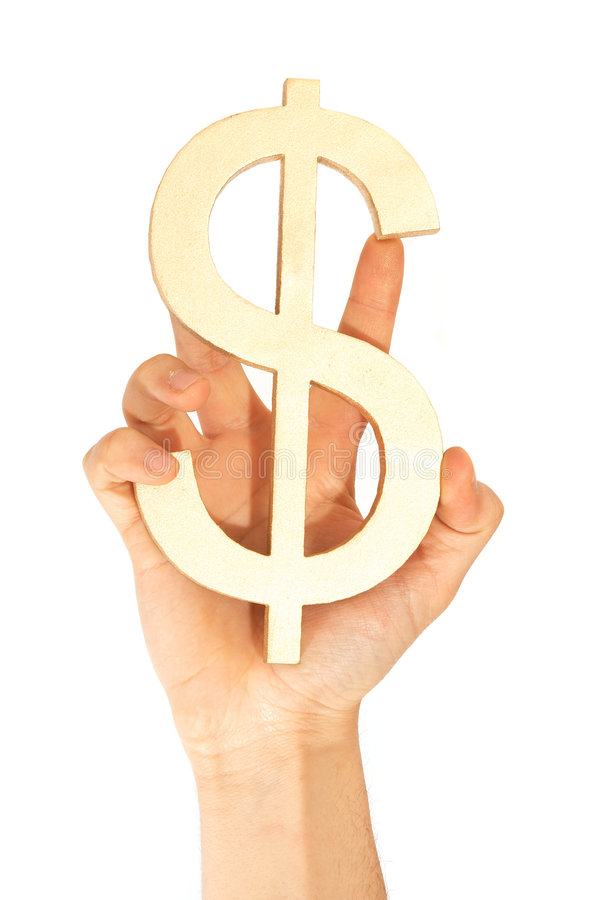 Dollar. Hand holding dollar sign on white stock image
