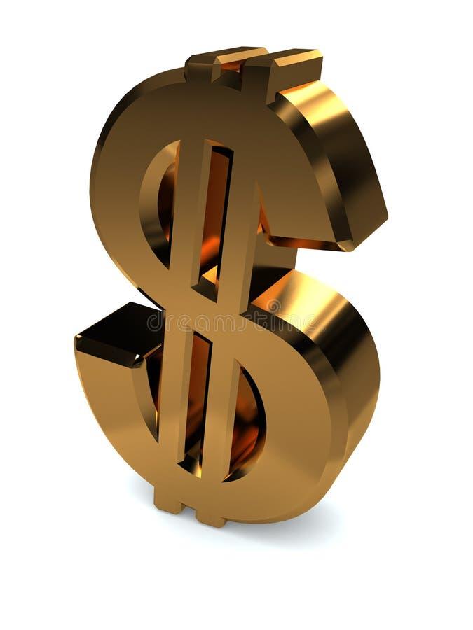 Dollar. Golden symbol of dollar isolated on white background
