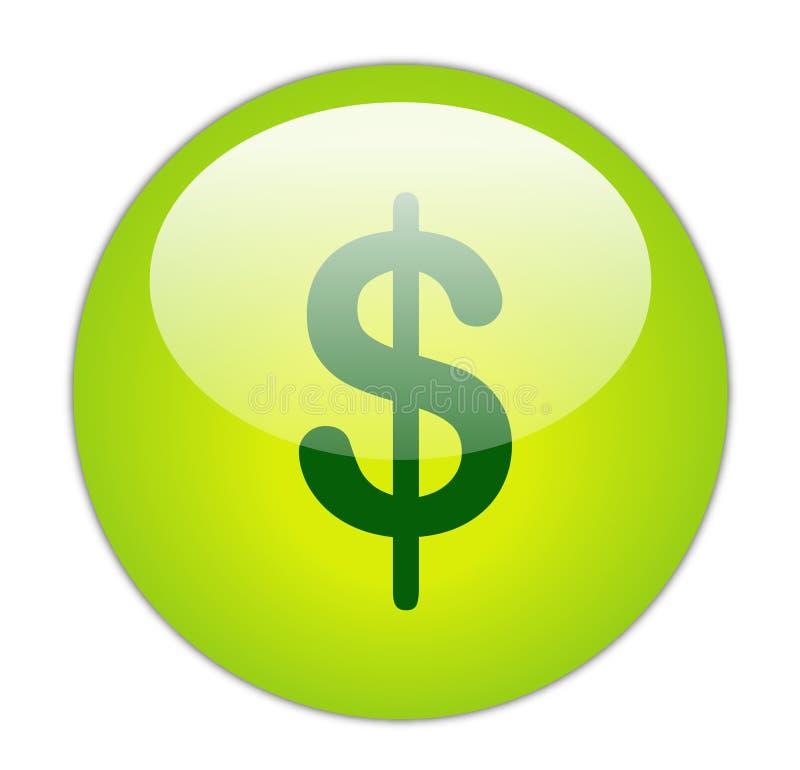 Dollar. Glassy Green Dollar Icon Button