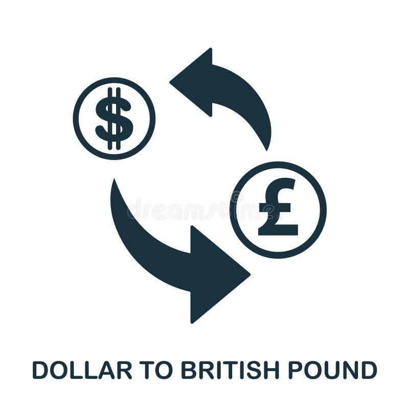 Dollar aan Brits Pondpictogram Mobiele app, druk, websitepictogram Het eenvoudige element zingt Zwart-wit Dollar aan Britten stock illustratie
