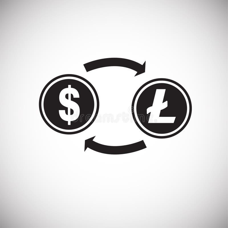 Dollar aan de omzetting van het litemuntstuk op witte achtergrond royalty-vrije illustratie