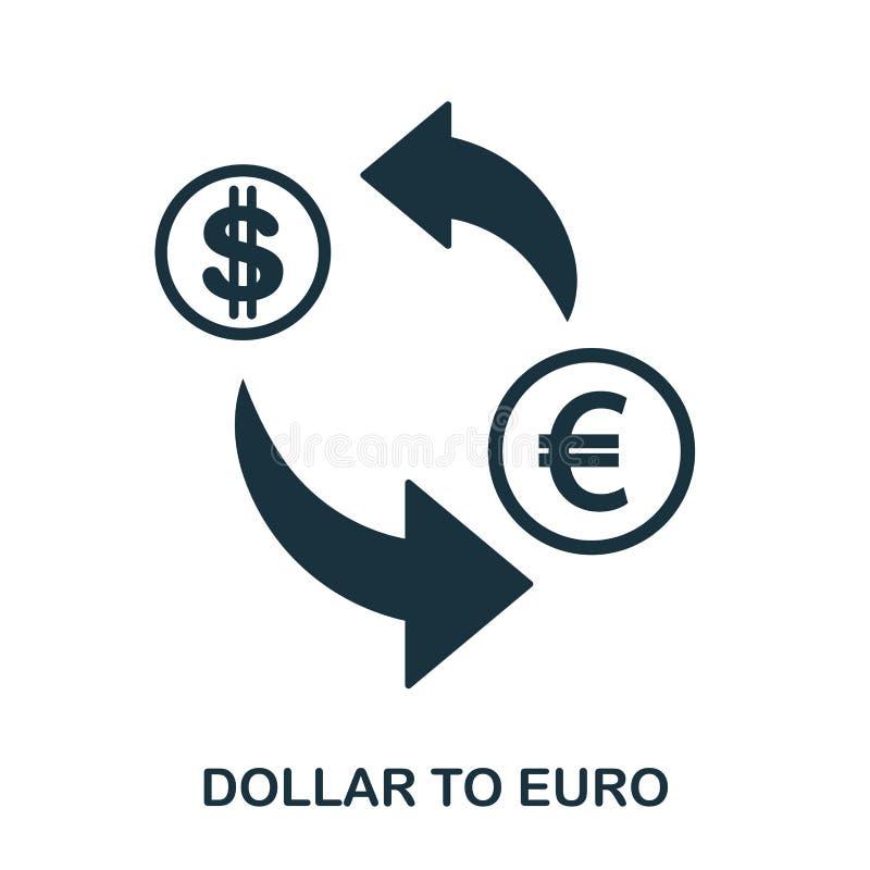 Dollar aan Euro pictogram Mobiele app, druk, websitepictogram Het eenvoudige element zingt Zwart-wit Dollar aan Euro pictogram stock illustratie