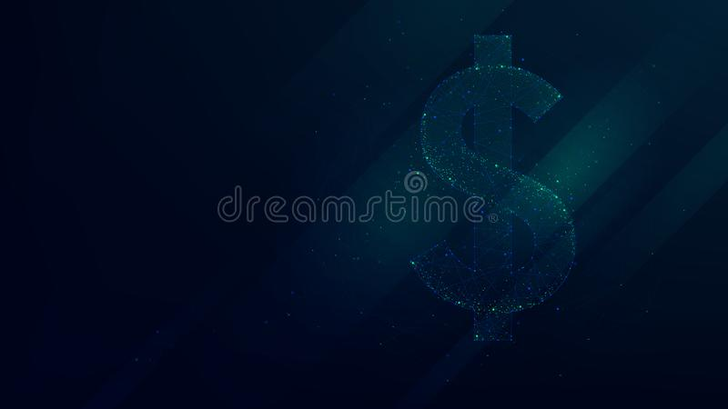 Dollar abstract polygonal points, low poly future technology stock illustration