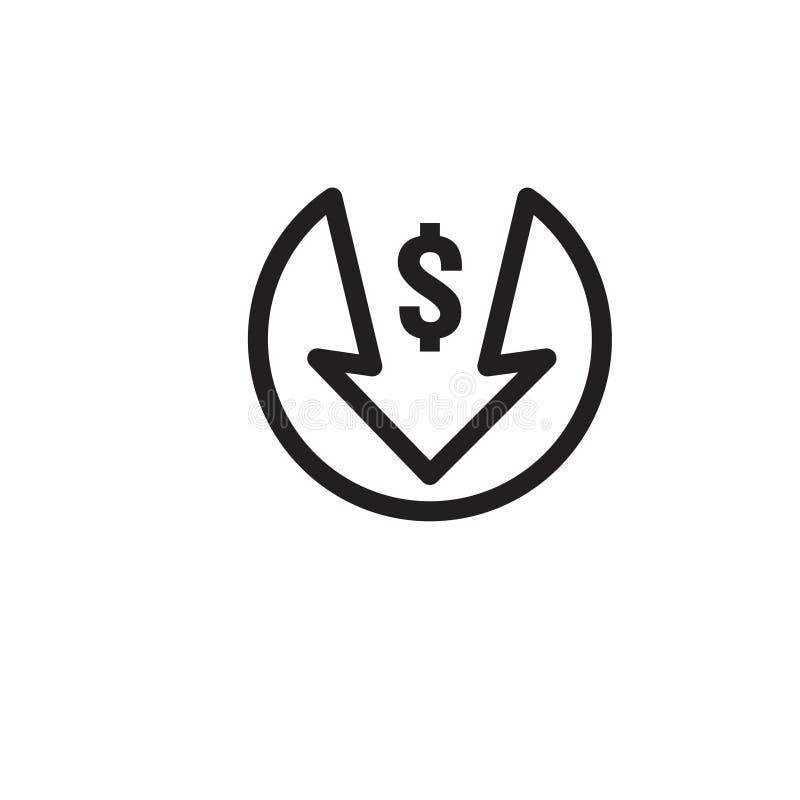 Dollar arrow decrease icon. Money arrow symbol. economy stretching rising drop fall down. Business lost crisis decrease. lower. Cost, reduction bankrupt icon vector illustration