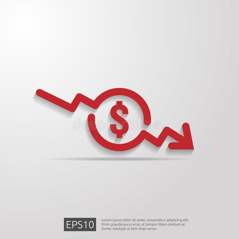 Dollar arrow decrease icon. Money arrow symbol. economy stretching rising drop fall down. Business lost crisis decrease. lower. Cost, reduction bankrupt icon stock illustration