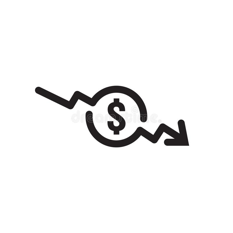 Dollar arrow decrease icon. Money arrow symbol. economy stretching rising drop fall down. Business lost crisis decrease. lower. Cost, reduction bankrupt icon royalty free illustration