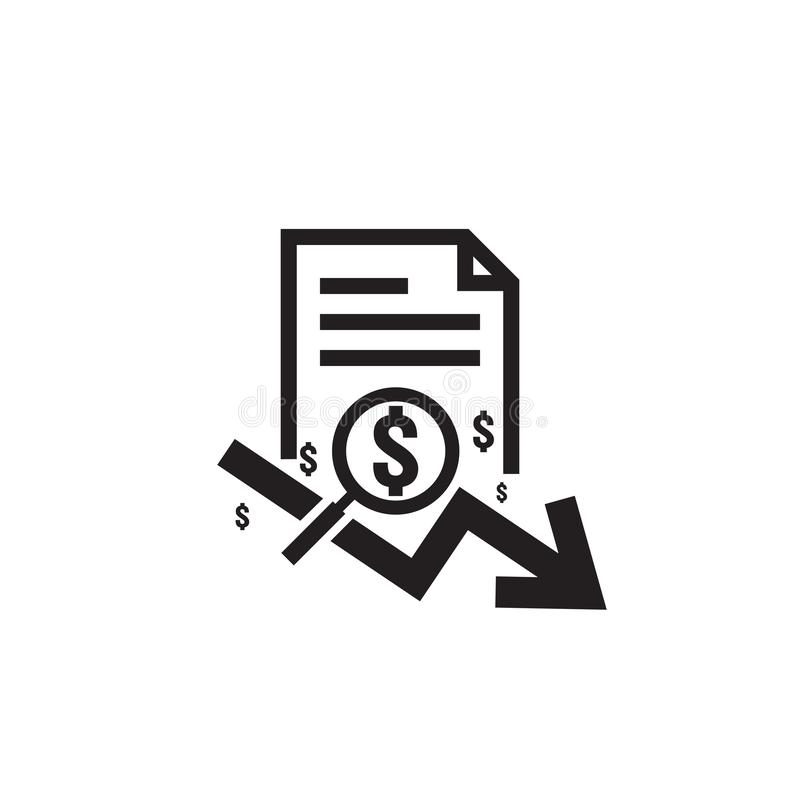 Dollar arrow decrease rate icon. Money arrow symbol. economy stretching rising drop fall down. Business finance lost crisis. cost. Reduction bankrupt icon. flat vector illustration