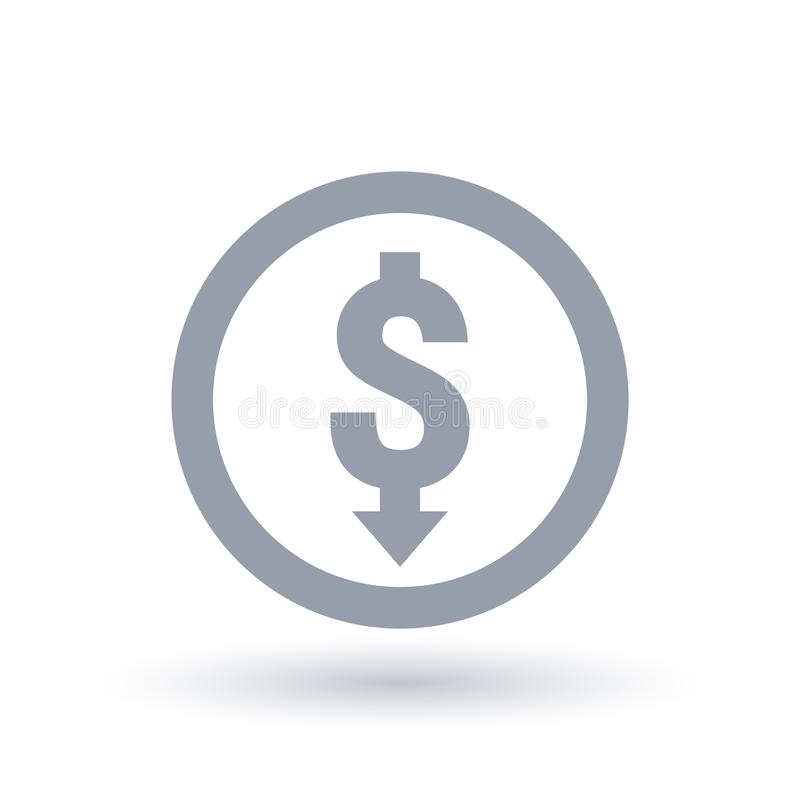Dollar With Arrow Down Concept Icon Investment Loss Symbol Stock