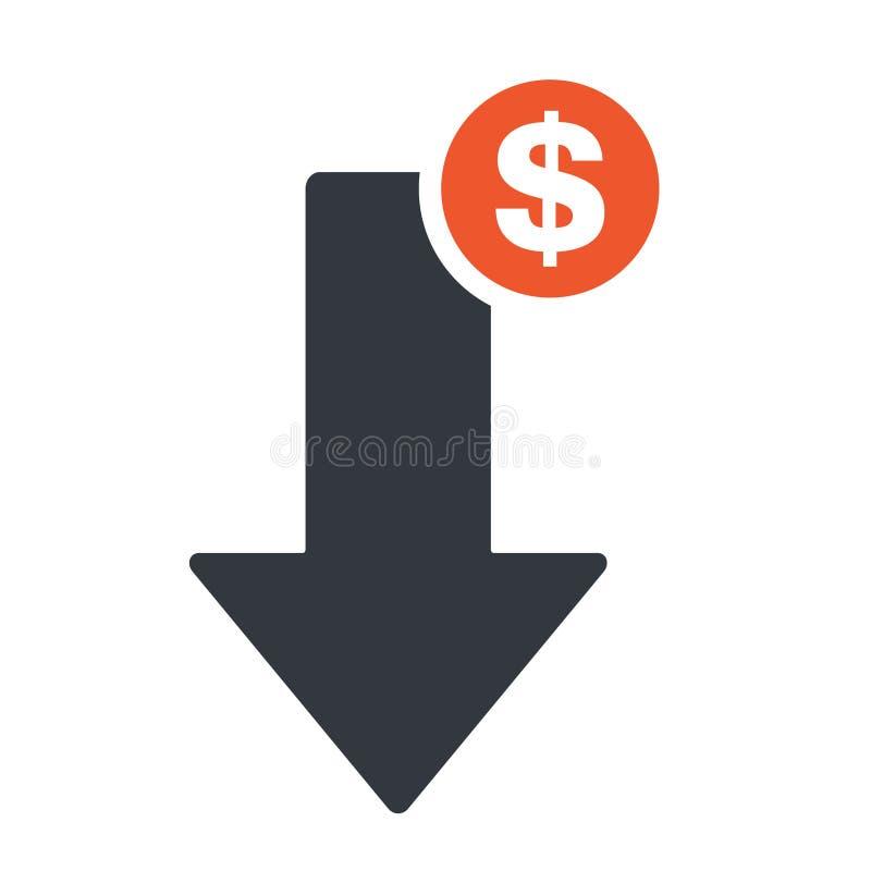 Dollar arrow down line icon. Reduction banking, finance, profit concept vector illustration