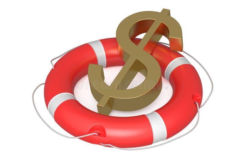Dollar auf Rettungsring stock abbildung