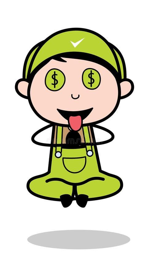 Dollar-Augen mit Zungen-aus- Retro- Schlosser-Cartoon Worker Vector-Illustration stock abbildung