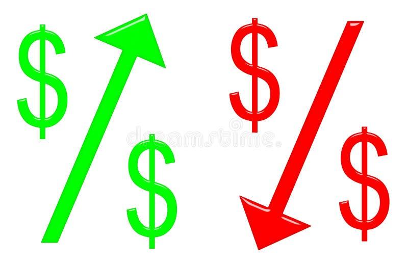 Dollar augmentant et en baisse illustration de vecteur