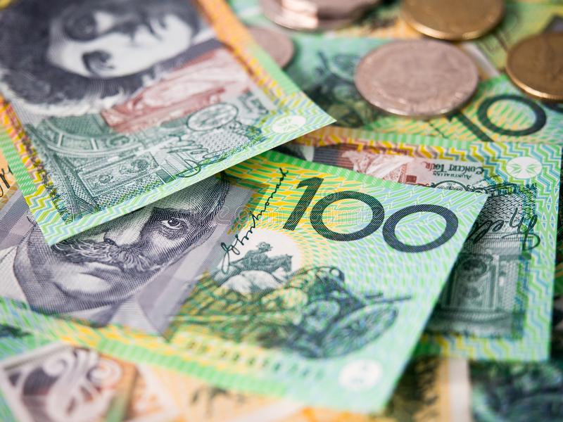 Dollar australian banknotes. Dollar australian banknotes and coins for money concept stock images