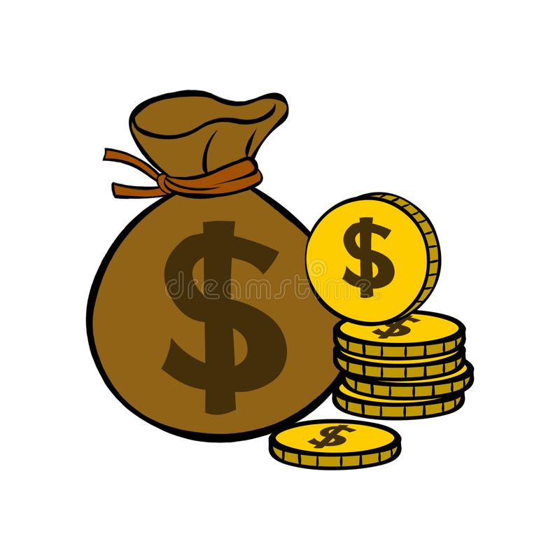 Dollar bag and gold coins royalty free stock photography