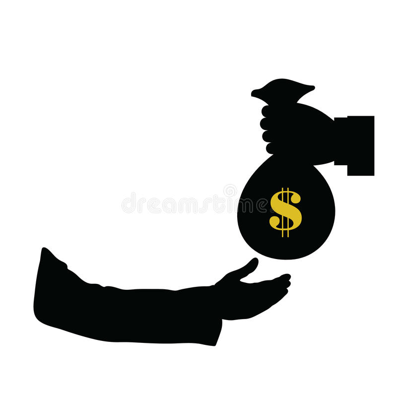 Dollar in bag in hand color vector stock illustration
