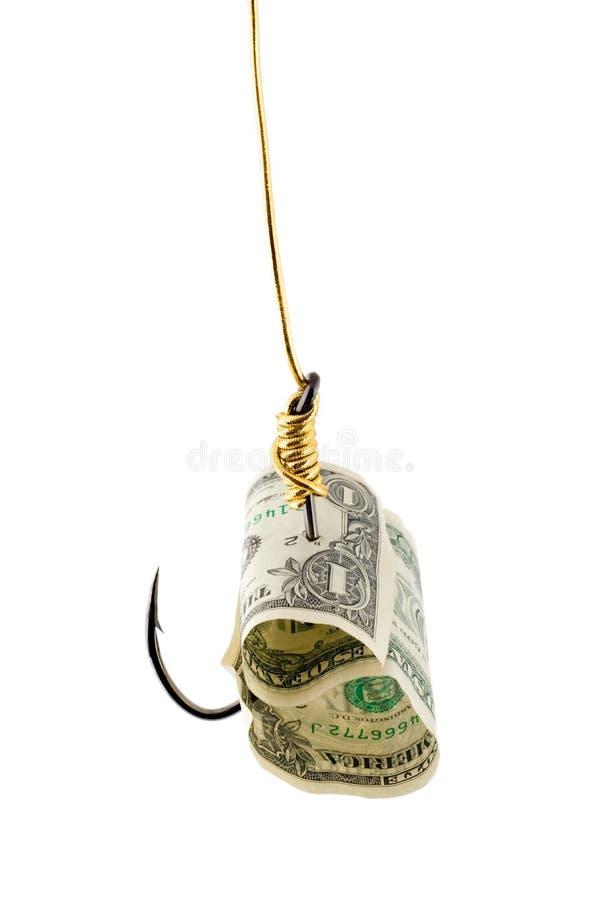 Dollar bait in hook stock photos