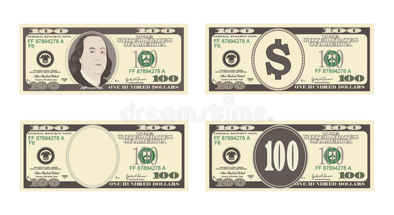 100 Dollar Banknote lizenzfreie abbildung