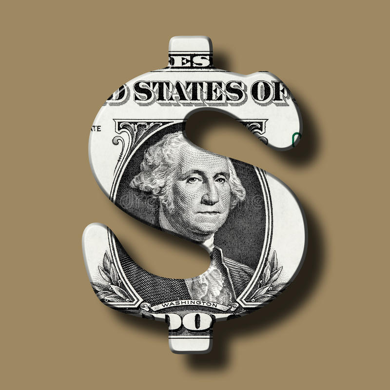 Dollar-Banknote auf Dollar-Symbol lizenzfreie abbildung