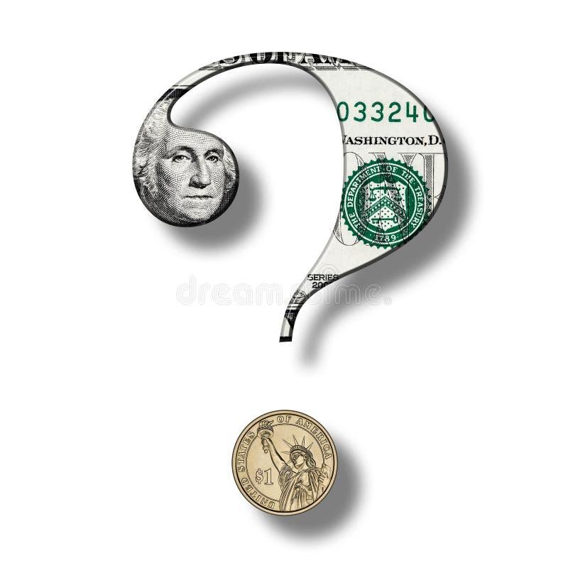 Dollar-Banknote auf Fragezeichen stock abbildung