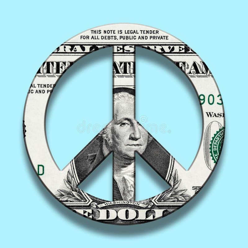 Dollar-Banknote auf Friedenssymbol stock abbildung