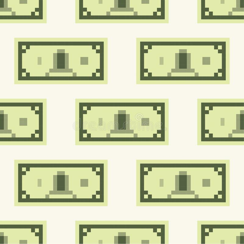 Dollar banknote cash pattern, seamless, tile, background pixel art cartoon retro game style royalty free illustration