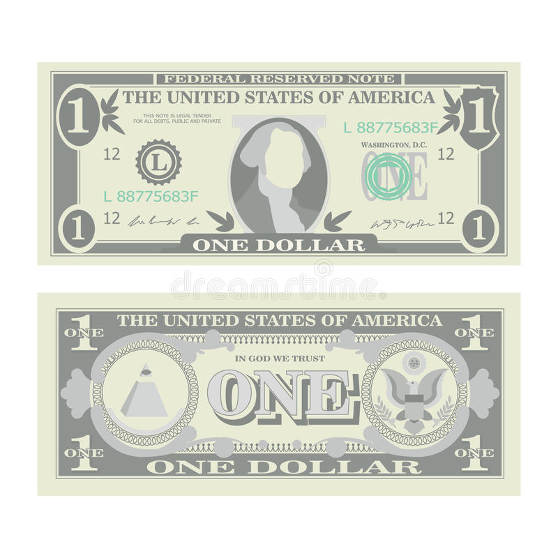 1 Dollar Banknote Vector. Cartoon US Currency. Two Sides Of One American Money Bill Isolated Illustration. Cash Symbol 1 stock illustration