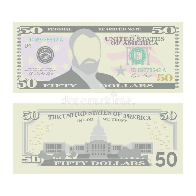 50 Dollar Banknoten-Vektor- Karikatur US-Währung Zwei Seiten fünfzig Amerikaner-Geld Bill Isolated Illustration bargeld lizenzfreie abbildung