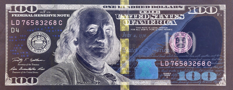 100-Dollar-Banknotennahaufnahme stockfotos