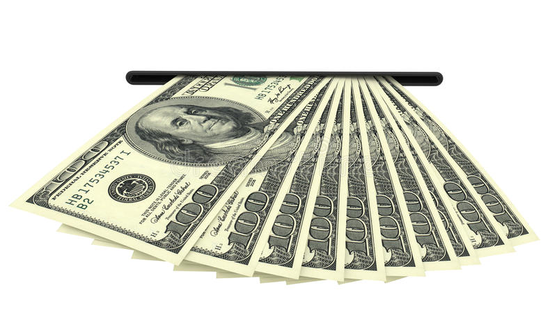 Dollar banknotes in a cash slot royalty free stock photo