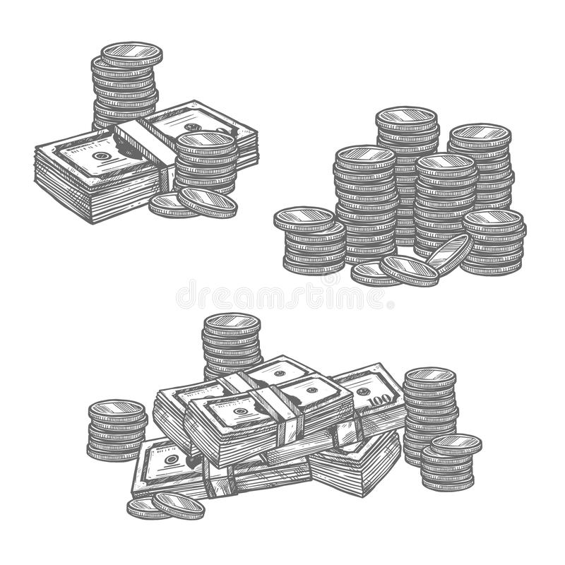 Dollar banknotes or cent coins vector sketch icons. Dollar banknotes and cent coins money in bundles and piles sketch icons. Vector isolated set of 100 dollars royalty free illustration