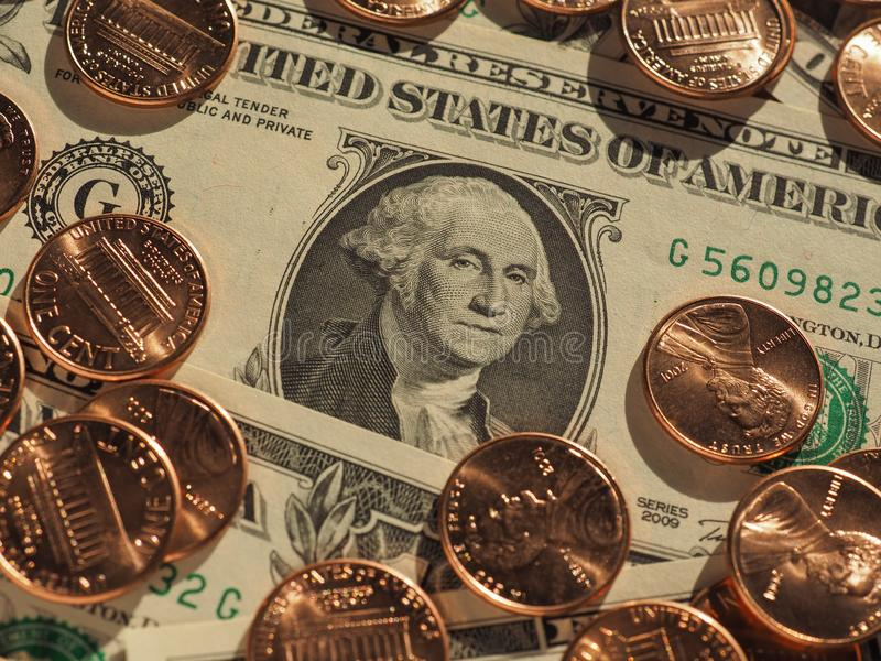 dollar notes and coins