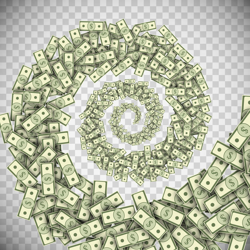 Dollar banknotes tornado, green money hurricane. Dollar banknotes tornado, green money hurricane, money bills swirl, financial whirlpool concept. Vector vector illustration