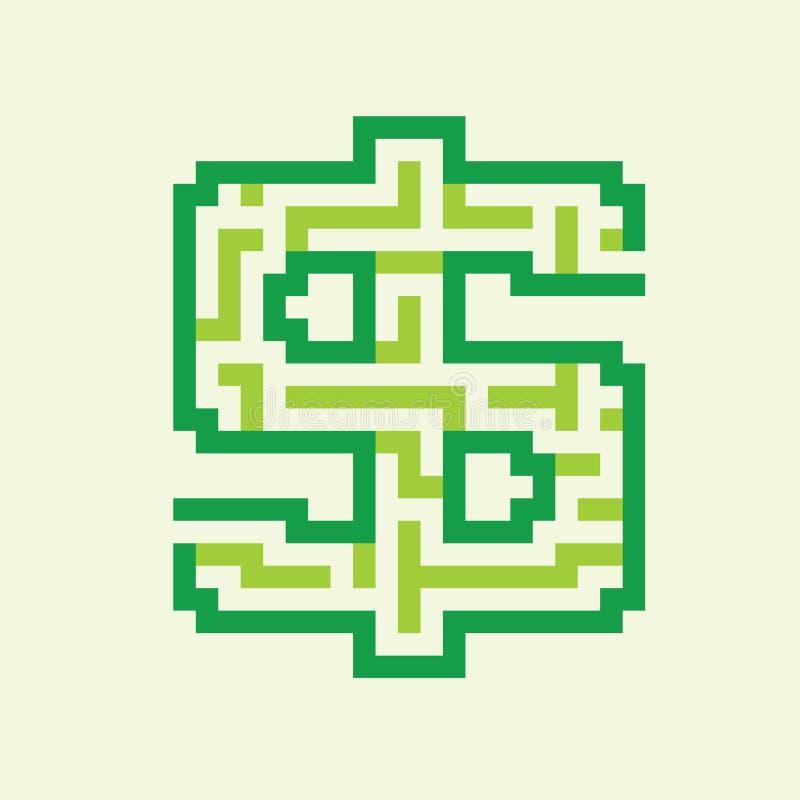 Dollar bedrijfs vlakke groene labyrintvector stock illustratie