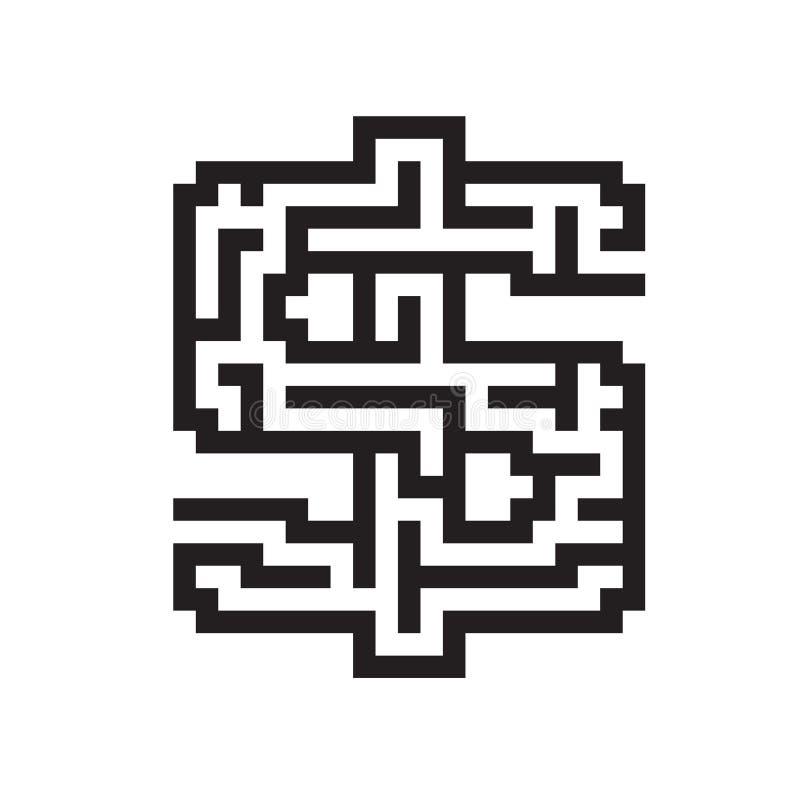Dollar bedrijfs vlakke zwarte labyrintvector vector illustratie