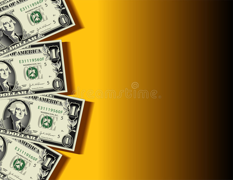Dollar Bill Background. Four United States dollar bills on a yellow and black gradient background, available in vector with space for text royalty free illustration