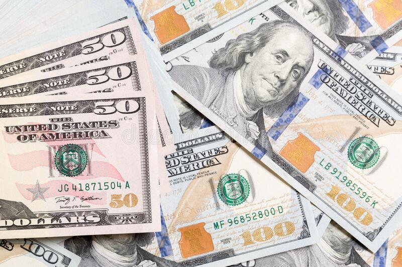 50 dollar bill on Dollar banknotes Top view of business concept on background with copy space.  stock image