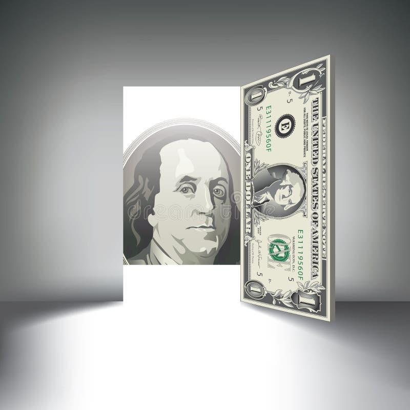 A dollar bill door beckons you vector illustration
