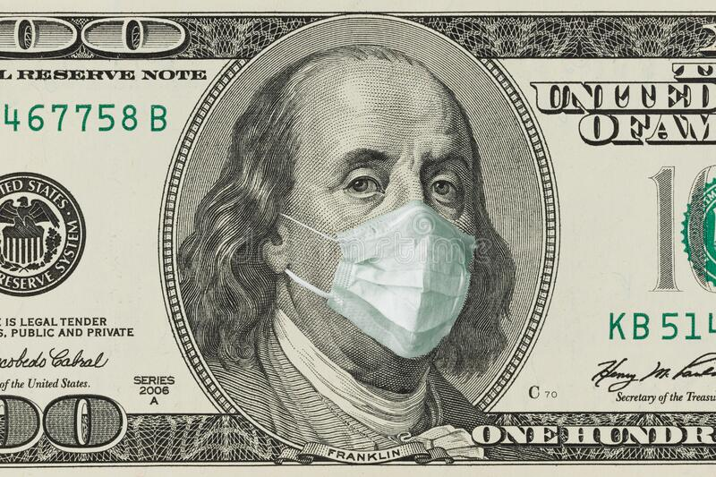 A 100-dollar bill with a face mask by Benjamin Franklin from the COVID-19 Coronavirus in the United States. The COVID virus outbreak is affecting the global stock photos