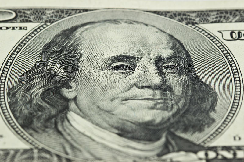 100 dollar bill images. Close up. fragment stock photography