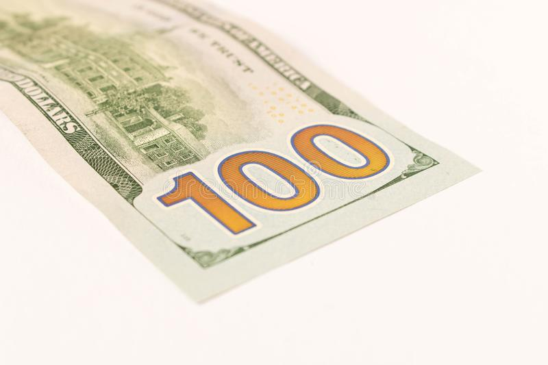 100 dollar bill. Isolated on white background. Selective focus stock photos