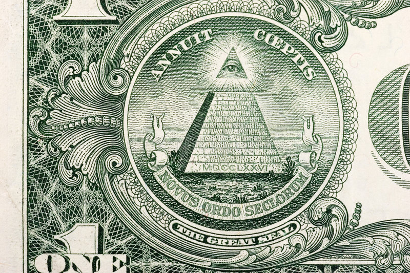 Dollar Bill Pyramid. The pyramid and eye on the back of a one dollar bill royalty free stock photos
